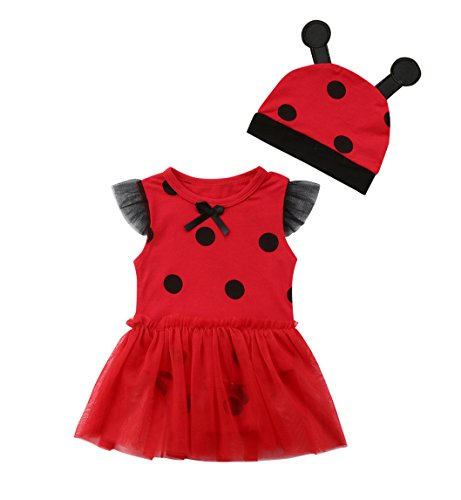 rechange Newborn Infant Baby Girls Ladybug Romper Dress Sleeveless Bodysuit Jumpsuit with Hat (9-12 Months, A # Red)