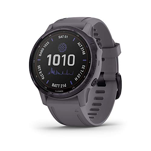 Garmin fēnix 6s Pro Solar, Smaller-Sized Solar-Powered Multisport GPS Watch, Advanced Training Features and Data, Amethyst Steel