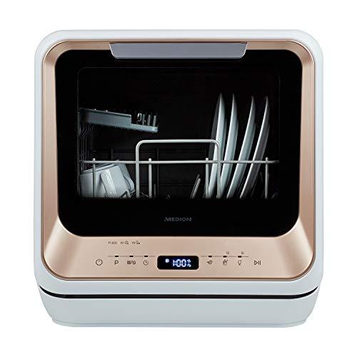 MEDION Mini Geschirrspüler (Tischgeschirrspüler, Spülmaschine für 2 Maßgedecke, funktioniert mit/ohne Wasseranschluss, 6 Reinigungsprogramme, Startzeitvorwahl, freistehend, MD 37004)