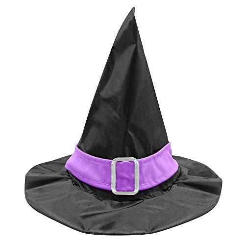 Widmann 51525 - Cappello da strega con fascia viola e fibbia, 1 pezzo, taglia unica per bambini, colore: nero lilla, accessorio per carnevale, Halloween, feste a tema, costumi, strega, mago