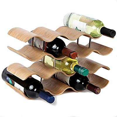 Wine Holder Rack,Home Countertop Wave Wine Rack, Wood, Space Saver Protector Countertop Table Top Wine Storage For Red,White Wines(14 Bottles) by FGHTL