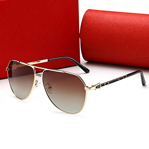 Dingziyue Fashion gepolariseerde zonnebril, zonnebril for mannen (Color : Gold frame/tan)
