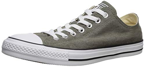 Converse Unisex-Adult Chuck Taylor All Star Washed Canvas Low Top Sneaker, Field Surplus/White/Black, 3.5 M US