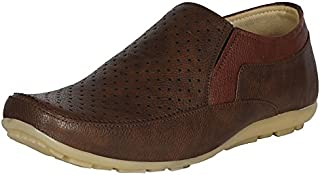 Emosis Men's Loafer Shoes - Synthetic Leather Casual Shoes - for Outdoor Formal Daily Use - Available in Tan Brown Black Colour - 0132M