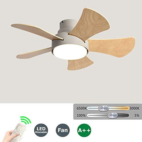 Lautlos Deckenventilator mit Fernbedienung, Durchmesser 80 cm, Ventilator mit Licht, Deckenleuchte LED20W 3 dimmbare Farben, 5 * Holzlüfterblatt, 5 * umkehrbare Geschwindigkeiten,B