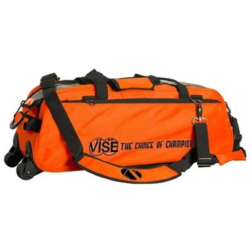 Vise Clear Top 3 Ball Roller Bowling Bag- Orange/Black ()