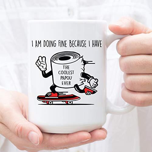 Mug-Coolest Papou Ever, Best Papou Ever, Papou regalo de cumpleaños, divertida taza para papou, regalo del día del padre, papel higiénico, taza de café divertida de 12 onzas