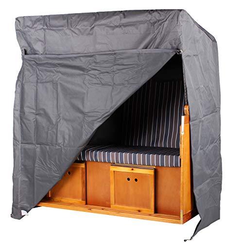Strandkorbhülle Premium Größe XXL grau - Regenhaube - Strandkorb - Schutzhülle - einfache Montage - Segeltuch - Abdeckplane