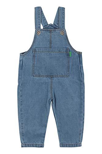 Camilife Baby Kleinkind Jungen Mädchen Basic Denim Latzhosen Overall Baumwolle Jeans Hose mit Hosenträger - Einfarbig Classic Hellblau Jeans Größe 90