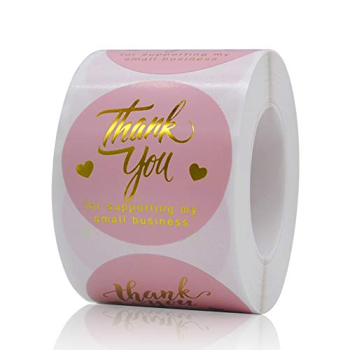1.5 inch Thank You for Supporting My Small Business Sticker, 500 Pcs Pink Round Thank You Stickers Roll, Thank You Labels for Greeting Cards, Flower Bouquets, Gift Wraps, Tags, Mailers Bag