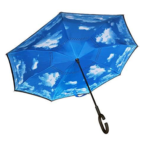 Seitenverkehrter Stockschirm, Innovativer Regenschirm, Doppelschichtiger Regenschirm, Umgekehrter Regenschirm, Regenschirm mit C-förmigem Griff - Himmel