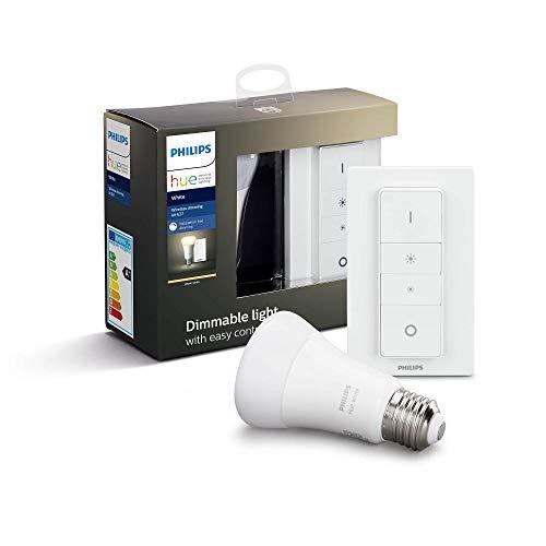 Philips Hue Ampoule LED Connectée White Dimming Kit E27 avec télécommande variateur de lumière Hue Compatible Bluetooth, Fonctionne avec Alexa