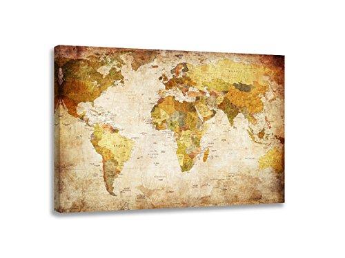bestpricepictures 80 x 60 cm Bild auf Leinwand Weltkarte 4139-SCT deutsche Marke und Lager - Die Bilder/das Wandbild/der Kunstdruck ist fertig gerahmt