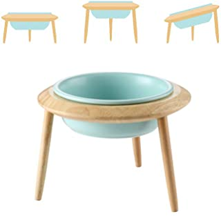 LIONWEI LIONWELI Blue Ceramic Adjustable Elevated Raised Pet Bowl with Wood Stand for Cats and Dogs No Spill Pet Food Wate...