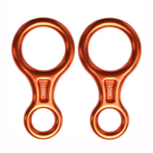 LFFCC 35Kn Heavy Duty Climbing Figure 8 Descender, Aluminium Alloy Rescue Eight Descender, Figure of 8 Belay Device for Rappelling, Tree Climbing, Aerial Silks Rigging,Orange