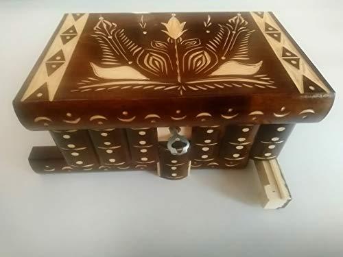 Neu Magie Rätsel Puzzle Geheimfach Schmuckkasten schön Handwerk Handarbeit Holz schatulle Zauber kästen (Braun)