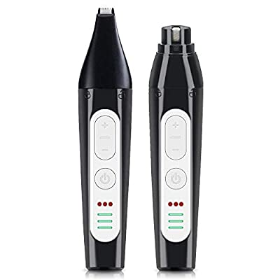 HeiYi Dog Nail Grinder Dog Nail Trimmer 2 in 1, Multifunctional 3 Speeds 3 Ports Quiet Pet Nail Grinder Rechargeable Painless Pet Grooming for Small Medium Large Dogs & Cats