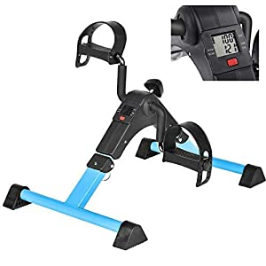 Under Desk Bike Pedal Exerciser with LCD Monitor Resistance and Resistance for Seniors, Stationary Foldable Mini Exercise Bike Pedals Peddler Exerciser for Arms and Legs for Office or Home (Blue)