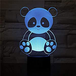 3D Night Light for Kids Cute Panda Creative Electric 3D Night Lamp 7 Color Changing USB Touch Table Lamp for Kid's BirthGift Best Gifts for Boys Girls MAGY