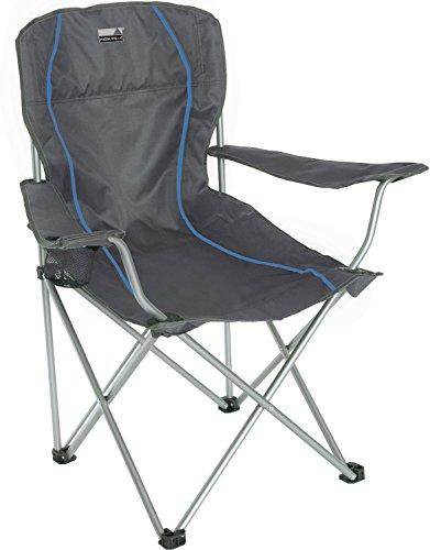 High Peak 44108 Chaise de Camping Pliante Mixte Adulte, Gris Foncé/Bleu, 54 x 43,5 x 41/93 cm