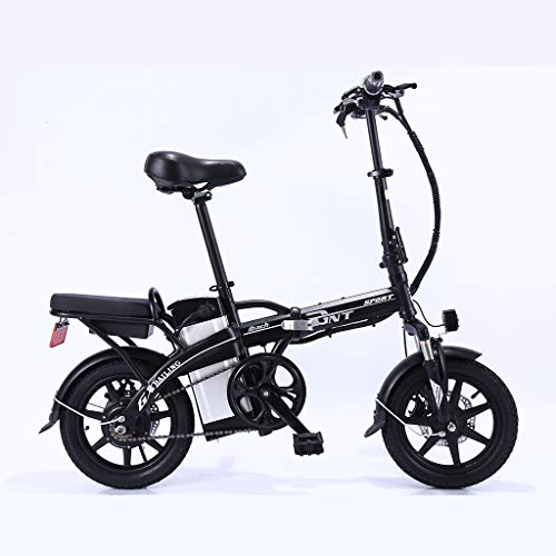 BAOYUAN Folding Electric Bike for Adults, 14 Inches 48V Removable Lithium Battery Beach Snow Bicycle for Rider Office Worker Maximum Load 150Kg,Black,60/70km