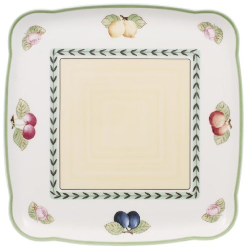 Villeroy & Boch Charm&Breakfast French Garden Platte quadratisch, Premium Porzellan, White, 30cm