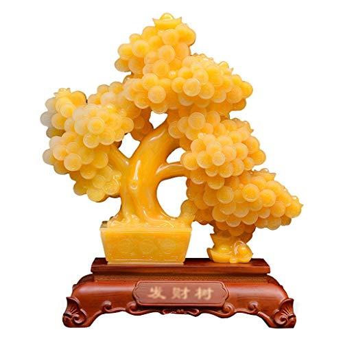 Ornamento de Escritorio Oro Bonsai árbol del dinero Decoración Estilo Bonsai artesanales esculpidos riqueza y la prosperidad espiritual Suerte energía del regalo de Feng Shui decoración de la tabla ar