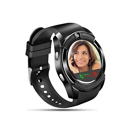 Tipmant Smartwatch, Reloj Inteligente con Ranura para Tarjeta SIM Cámara Música Podometro, Relojes Inteligentes para Hombre Mujer Niños Pulsera de Actividad para Android Xiaomi Samsung Huawei (Negro)