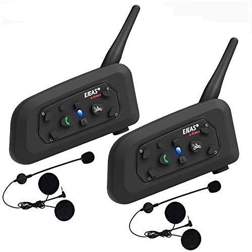V6 Pro Intercomunicador Bluetooth Motocicletas, Intercomunicador de Casco,1200m Comunicación Intercom/Impermeabilidad/MTB/6 Motociclistas (2 Paquetes)