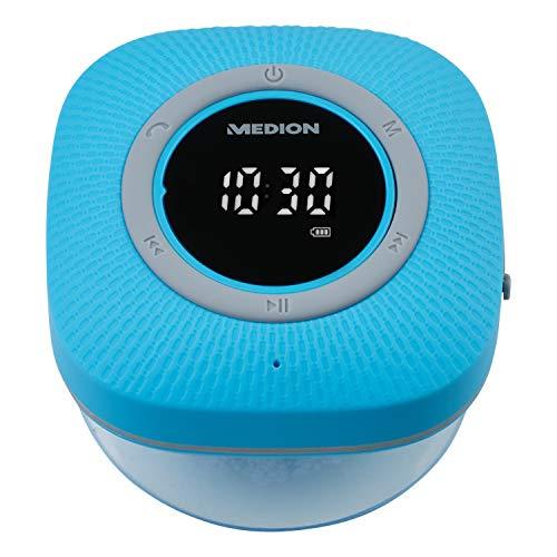 MEDION P66096 Duschradio mit Bluetooth (Badradio, UKW Radio, Saugnapf, LED-Display, IPX6 Wasserdicht, integrierter Akku) blau