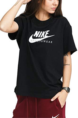 Nike Sportswear Heritage, Maglia Manica Corta Donna, Opacity, Nero/Bianco Midnight Navy Bianco, Small