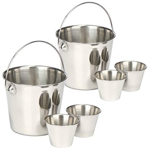 COM-FOUR® 2x snack bowl con dip bowl - Plato de papas fritas para servir bocadillos y bocadillos (Pommseimer - 02 piezas)
