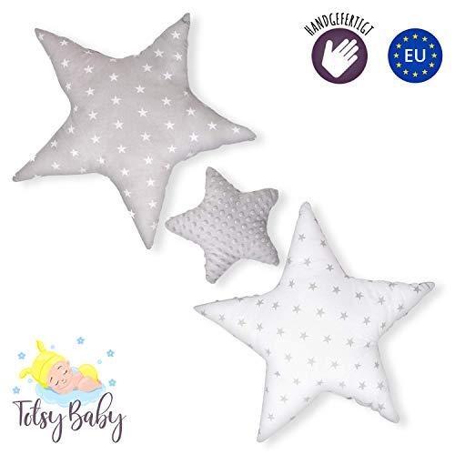 Dekokissen kinderzimmer Kissen Stern - Plüschkissen für Kinder Mädchen Jungen Zierkissen grau weiß mit Sternen Set ø 30cm u. 2 x ø 60cm