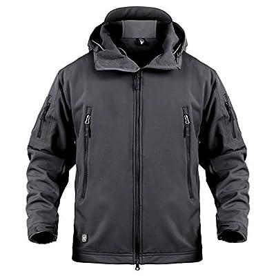 ReFire Gear Men's Army Special Ops Military Tactical Jacket Softshell Fleece Hooded Outdoor Coat, Black, Medium