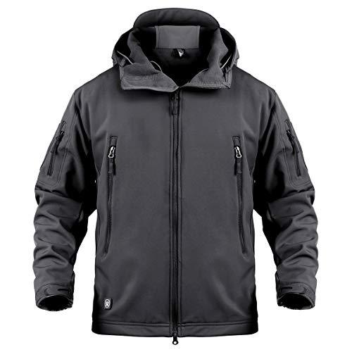 CARWORNIC Chaqueta táctica para hombre, softshell, impermeable, con capucha, militar, para invierno, cálida, para exterior, deporte, senderismo, caza, Hombre, Negro , medium
