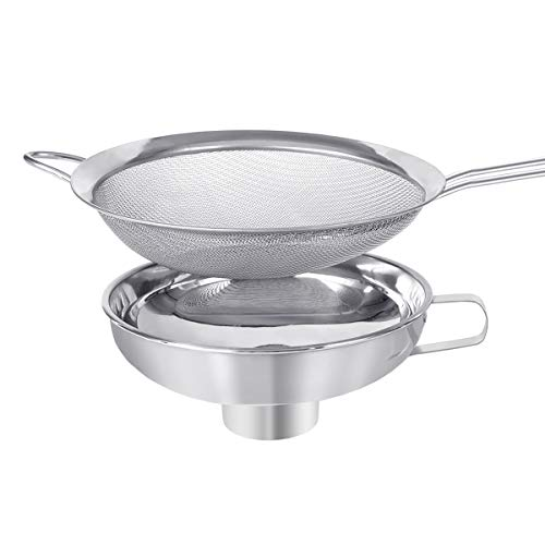 AIEVE Canning Funnel, Canning Supplies Stainless Steel Funnel for Kitchen Use and Fine Mesh Strainer Sieve Metal Funnel for Wide and Regular Jars Whippers and Transferring Liquid and Dry Ingredients
