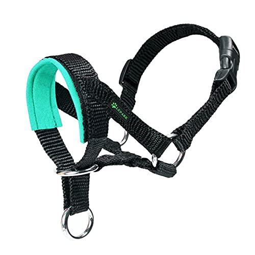 ILEPARK Cuello De Cabeza para Perros con Tela Acolchada, Cabestro de Cabeza para Perros, Regolabile Herramienta de Entrenamiento (L,Verde)