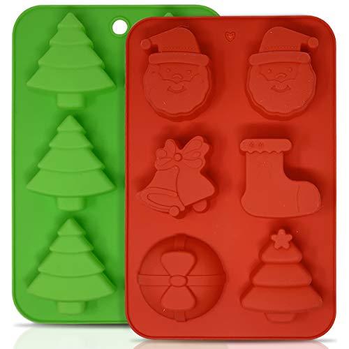 joeji's Kitchen 2 Moules en Silicone de Noël pour Gâteau, Gelée et Candy, Plateau à Glaçons Moules de Noël