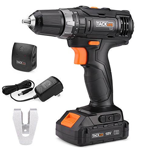 Cordless Drill Driver, TACKLIFE 18V, 1.5Ah Professional Combi Drill Set, LED Light, 2-Speed all-metal 10mm Spindle, Maximum 30Nm 19 + 1 Torque Hammer Drill-PCD06C