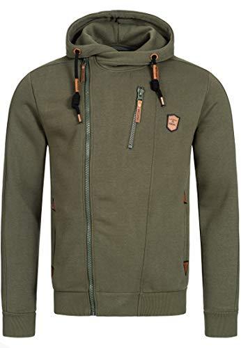 Indicode Herren Elm Kapuzensweatjacke | Hooded Jacket Kapuzenjacke Hoodie mit Reißverschluss Kapuzenpullover mit Zipper Sweatjacke mit Kapuze Kapuzensweatshirt für Männer Army M