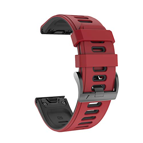 NotoCity Garmin Fenix 6s Correa, Silicona Reemplazo Correa para Garmin Fenix 6s/Fenix 6s Pro/Fenix 5s/Fenix 5s Plus, 20mm Easy-Fit (Rojo-Negro)