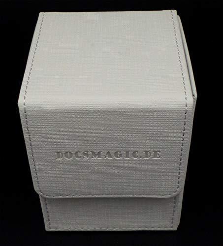 docsmagic.de Premium Magnetic Flip Box (100) White + Deck Divider - MTG PKM YGO - Kartenbox Weiss