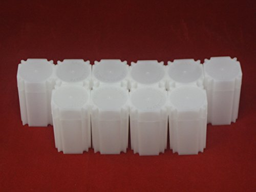 (10) Coinsafe Brand Square White Plastic (Large Dollar) Size Coin Storage Tube Holders, Model: , Office Shop