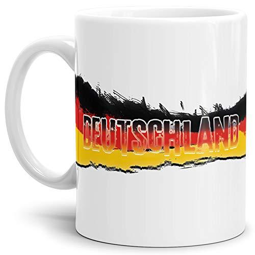 Deutschland-Tasse Passend zur WM Oder EM/Weiss/Länderfarbe/WM 2018/Weltmeisterschaft/Cup/Mug/Qualität Made in Germany