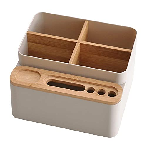 Schreibtisch Organizer Holz, Stiftehalter Desktop Fernbedienungshalter Make Up Organizer Kosmetik Aufbewahrung Stiftehalter Tisch Aufbewahrungsbox Abnehmbarem 8 Fächer weiß