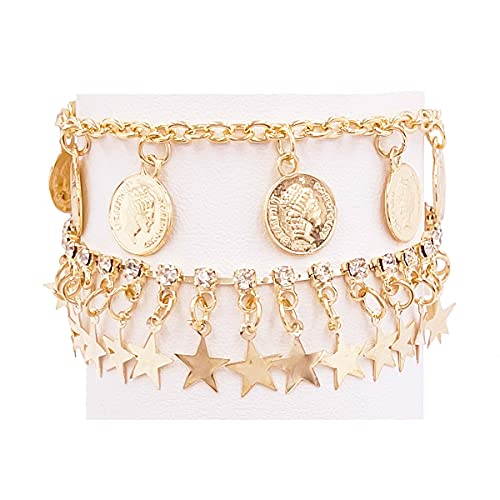 Nanafast 2PCS Ankle Bracelets Set for Women Hand Woven Shell, Colored Stone, Starfish Gold Boho Beach Anklet Chain Adjustable Foot Jewelry for Girls Extremely Simple Style-Gold-Elizabeth II