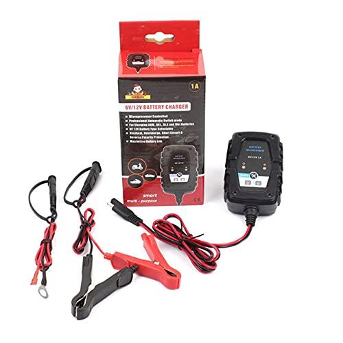Easyeeasy 6V12V 1A Cargador de batería de plomo ácido inteligente Batería de coche de motocicleta Cargador Agm Cable Sae Indicadores LED