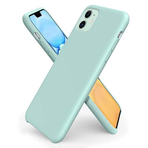 ORNARTO Funda Silicone Case para iPhone 11, Carcasa de Silicona Líquida Suave Antichoque Bumper para iPhone 11 (2019) 6,1 Pulgadas-Menta Verde
