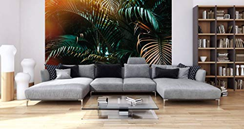 awallo Fototapete – Motiv «Jungle colour» in Braun, Grün, Orange | 350x255cm | XXL Bild-Tapete Wand-Bild Digitaldruck | hochwertige Vliestapete – Made in Germany | einfache Verarbeitung