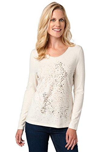Bonita Damen Uni, Langarm, V-Ausschnitt T-Shirt, Weiß (White 2131), 42 (Herstellergröße: XL)
